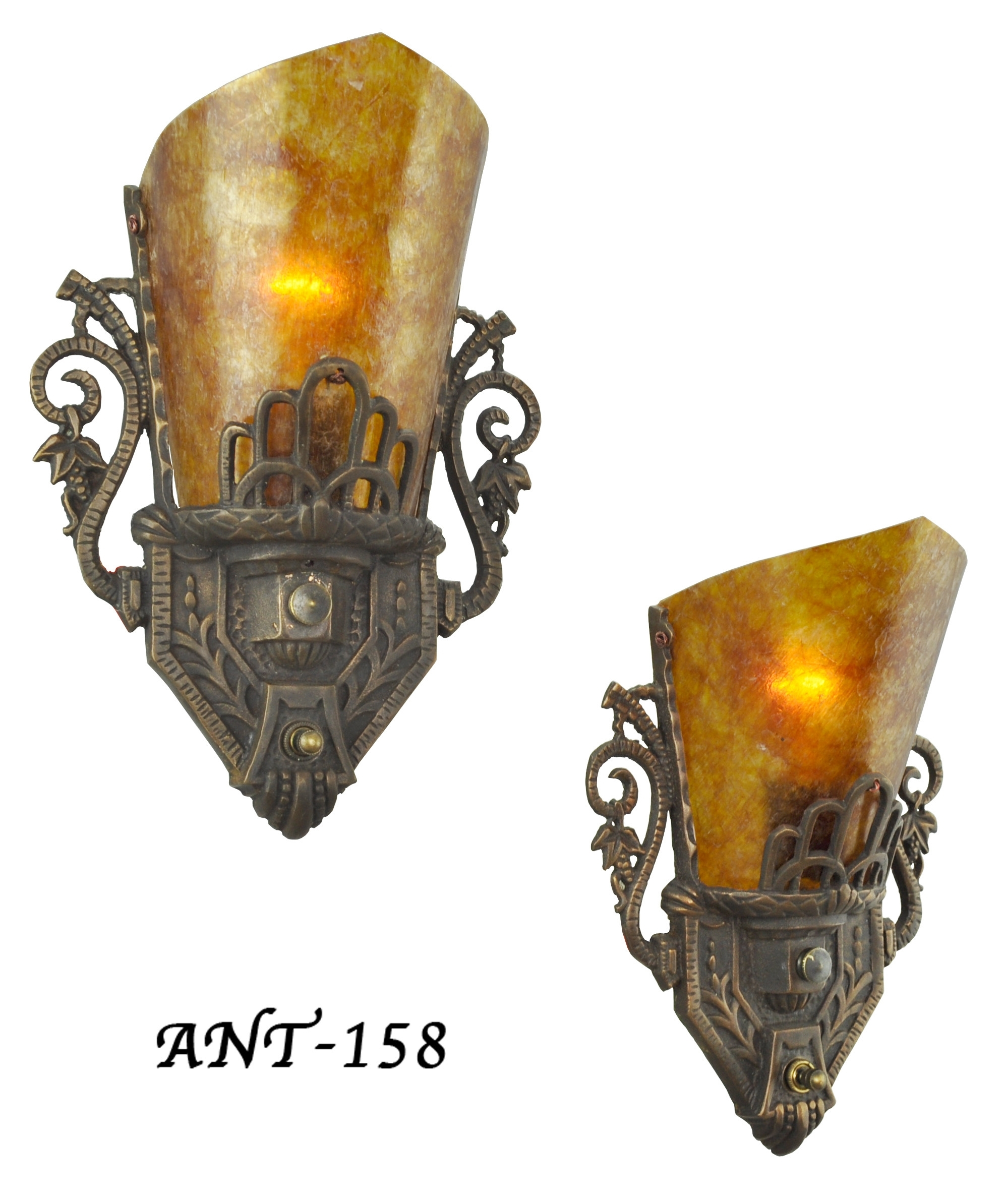 Vintage Hardware & Lighting - Pair Of Antique Restored Art Deco Wall with regard to Art Deco Wall Sconces (Image 19 of 20)
