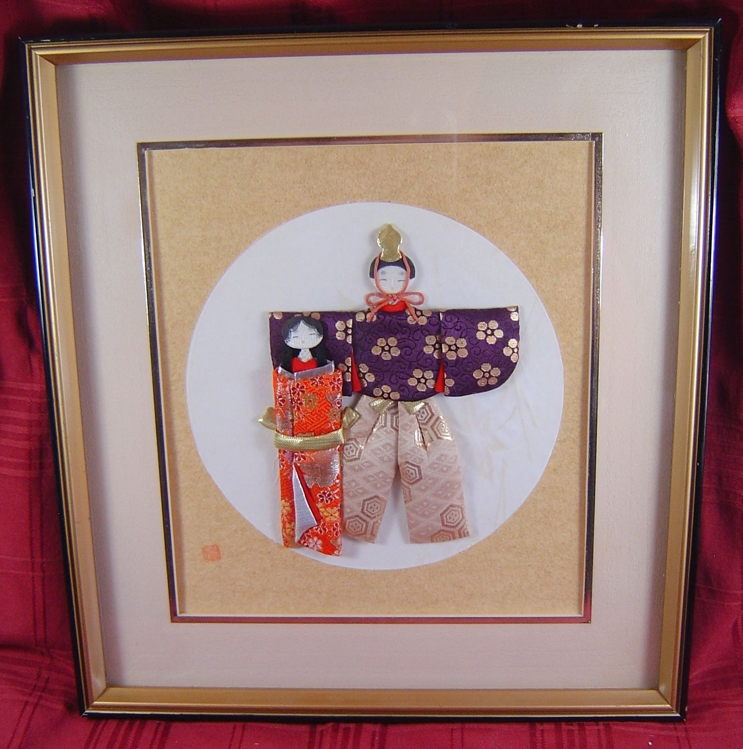 Vintage Japanese Framed Art Wall Hanging Geisha Kimonos 3-D Signed intended for Japanese Wall Art (Image 19 of 20)
