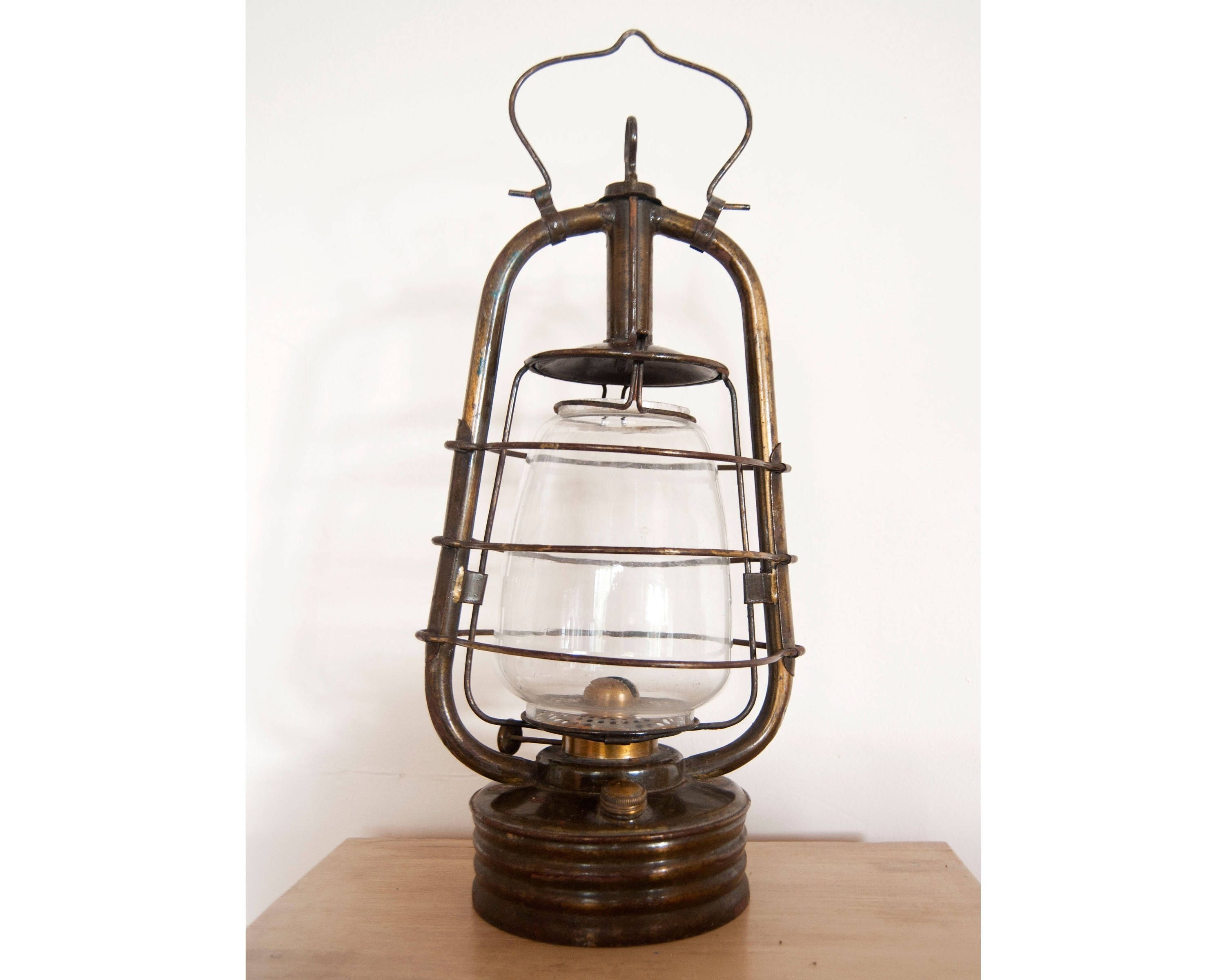 Vintage Lantern Oil Lamp - Antique French Hurricane Brass Lamp with Decorative Outdoor Kerosene Lanterns (Image 18 of 20)