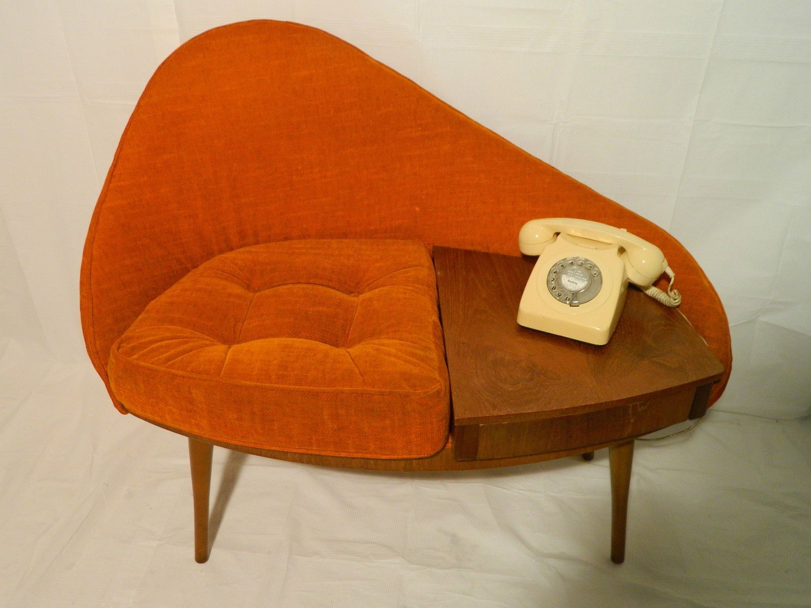 Vintage Mid Century Egg 1960`s Chippy Heath Telephone Seat Atomic with Mid-Century Modern Egg Tables (Image 23 of 30)