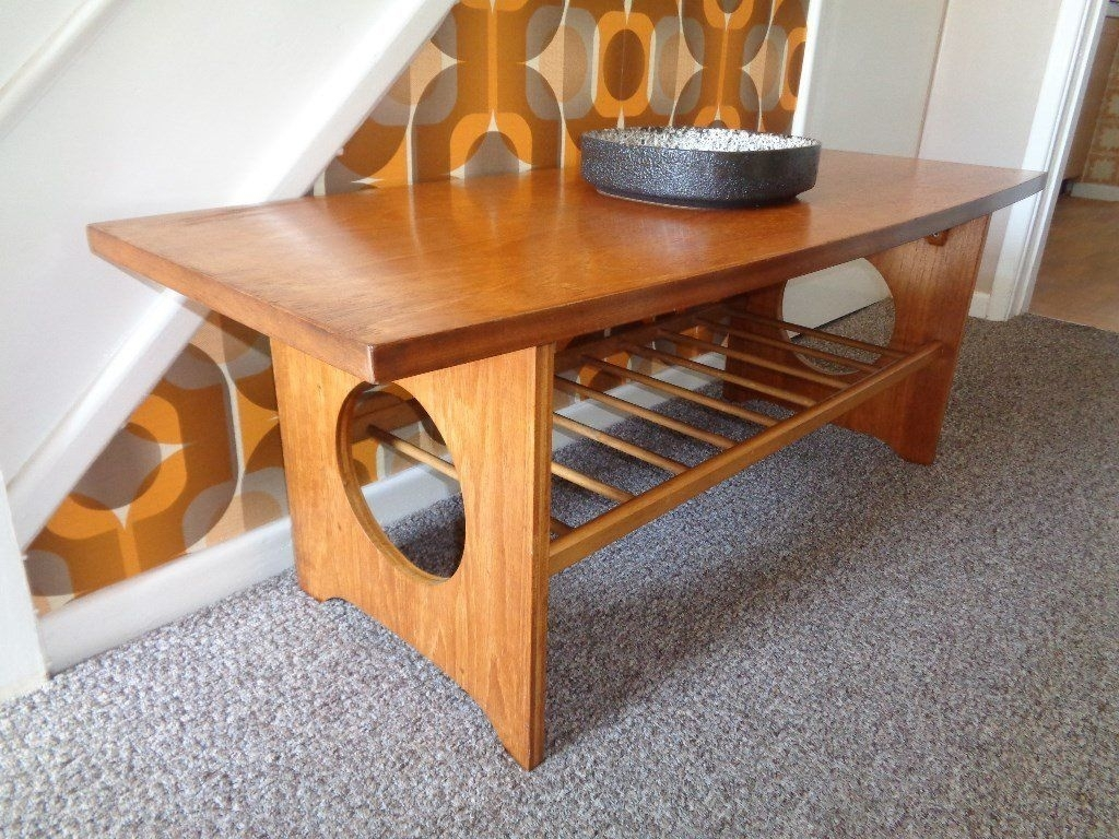 Vintage Mid Century Large Teak Coffee Table | In Birstall throughout Large Teak Coffee Tables (Image 29 of 30)