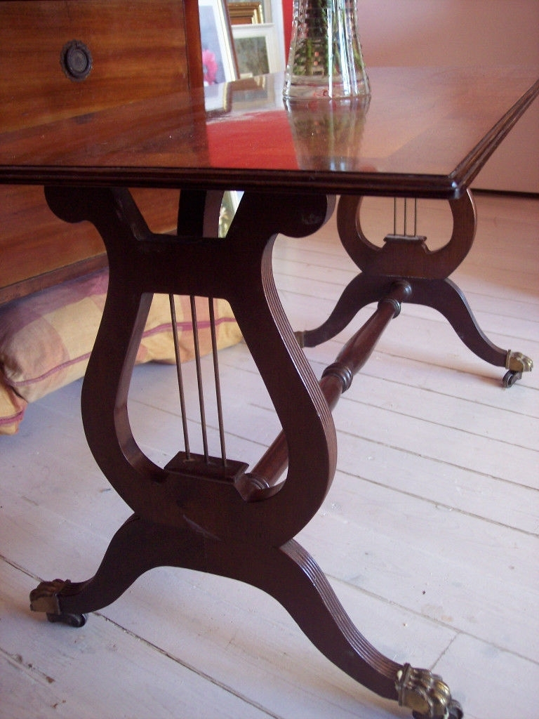 Vintage Retro Mahogany Lyre Pedestal / Base Coffee Table, Occasional pertaining to Lyre Coffee Tables (Image 28 of 30)