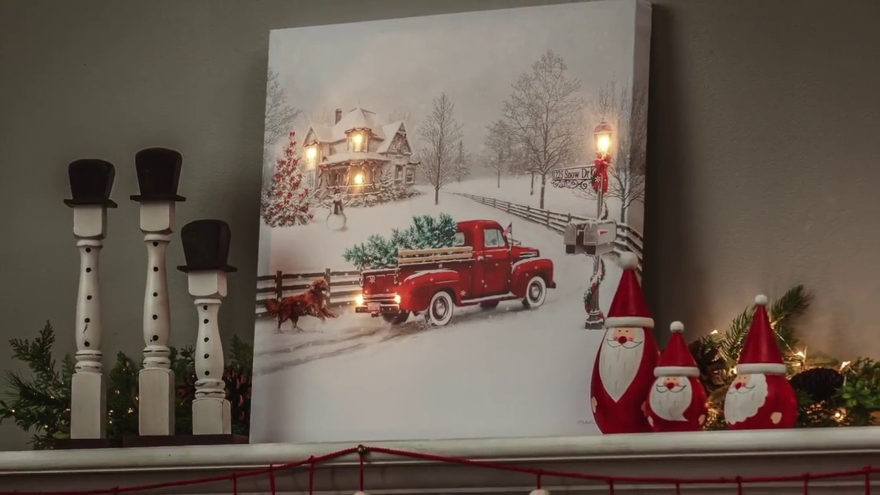 Vintage Truck Led Light-Up Canvas Wall Art (6Ltc6190) - Youtube inside Light Up Wall Art (Image 16 of 20)