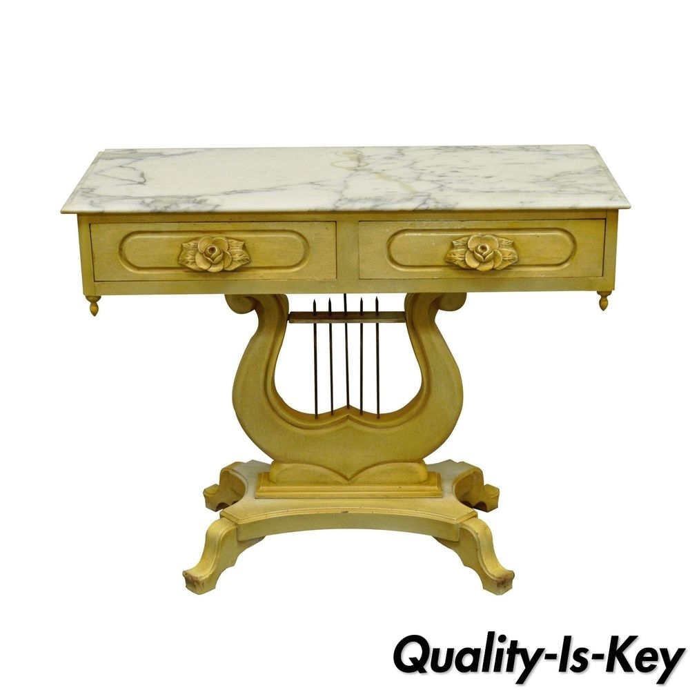 Vintage Victorian Painted Marble Top Lyre Harp Base Console Hall regarding Lyre Coffee Tables (Image 29 of 30)