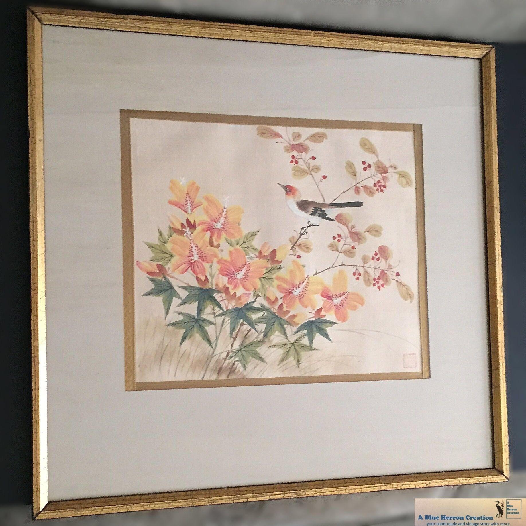 Vintage: Watercolor Silk Oriental Framed Wall Hanging, Mid Century Regarding Oriental Wall Art (View 18 of 20)