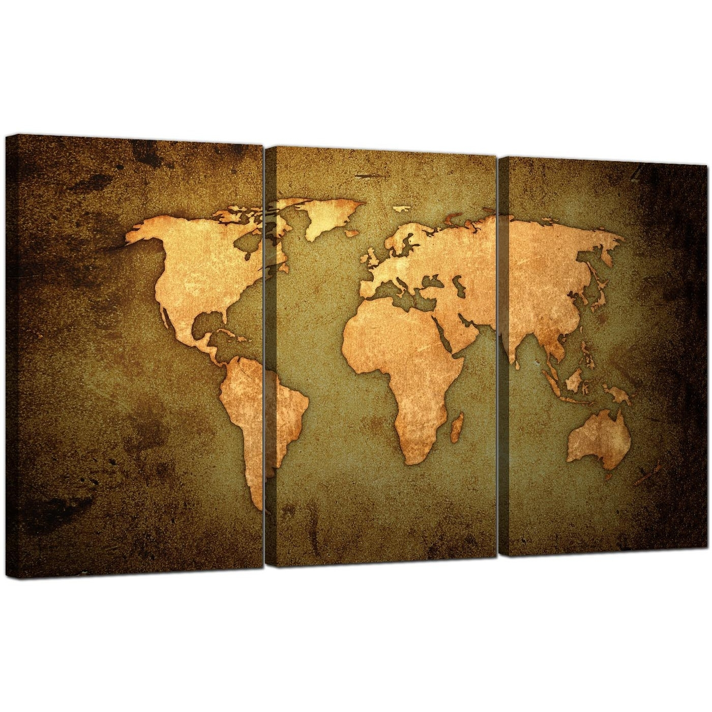Vintage World Map Canvas Art Set Of Three For Your Study with regard to World Map for Wall Art (Image 8 of 20)