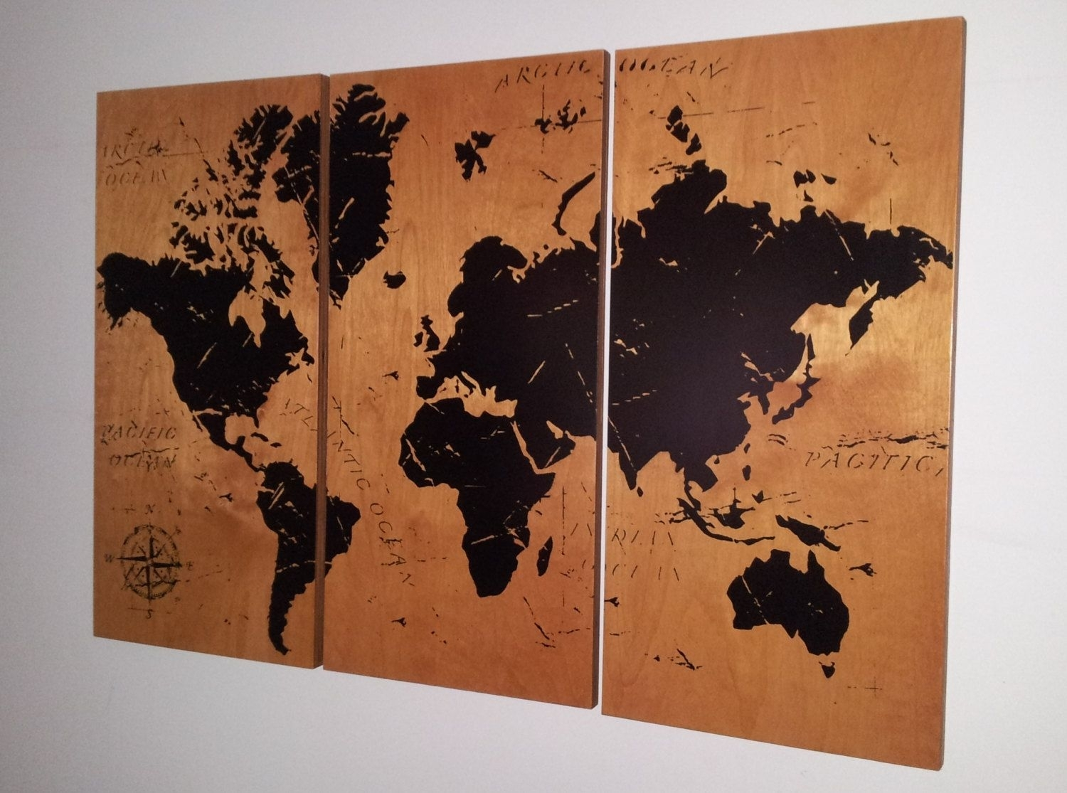 Vintage World Map!! Screen Print Wood Painting Wall Art On Stained throughout Old World Map Wall Art (Image 17 of 20)