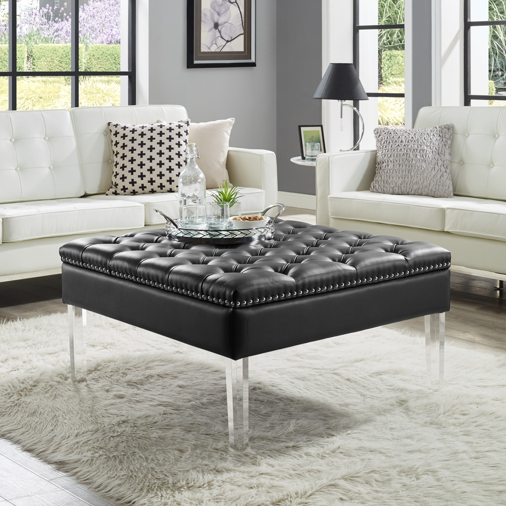 Vivian Leather Oversized Button-Tufted Ottoman Coffee Table | Ebay pertaining to Button Tufted Coffee Tables (Image 30 of 30)
