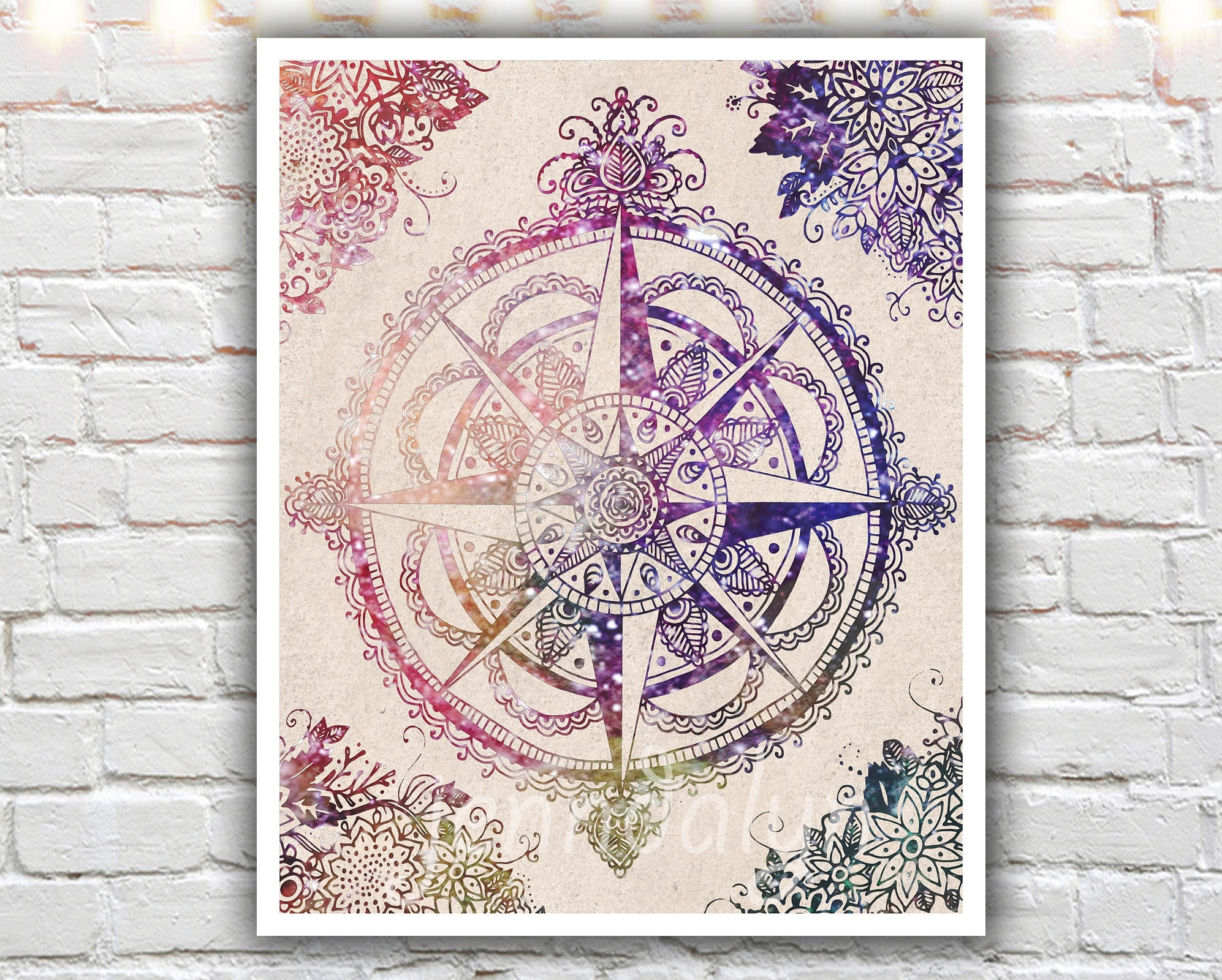 Voyager Ii - 16 X 20 Paper Print, Large Wall Art, Compass Rose with Henna Wall Art (Image 18 of 20)