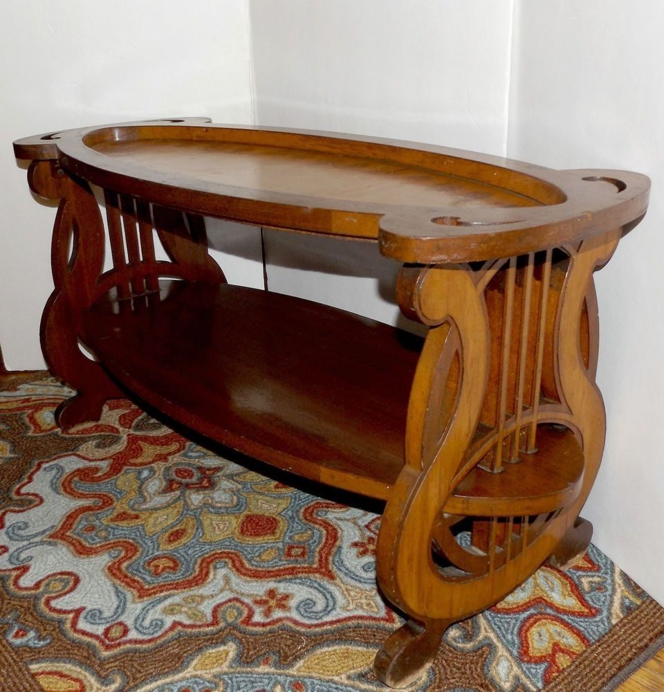 Vtg 1940's 1950's Mid Century Inlaid Flowers Lyre Harp Base Unusual throughout Lyre Coffee Tables (Image 30 of 30)