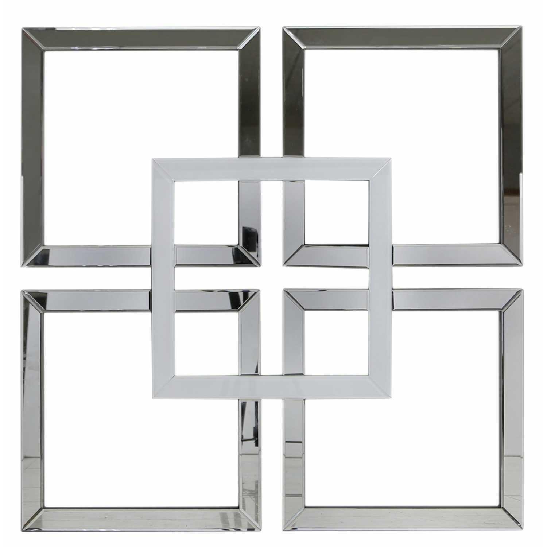Wa Whcl Contemporary Designed White London Glass Geo Mirror Wall Art within Mirrored Wall Art (Image 17 of 20)