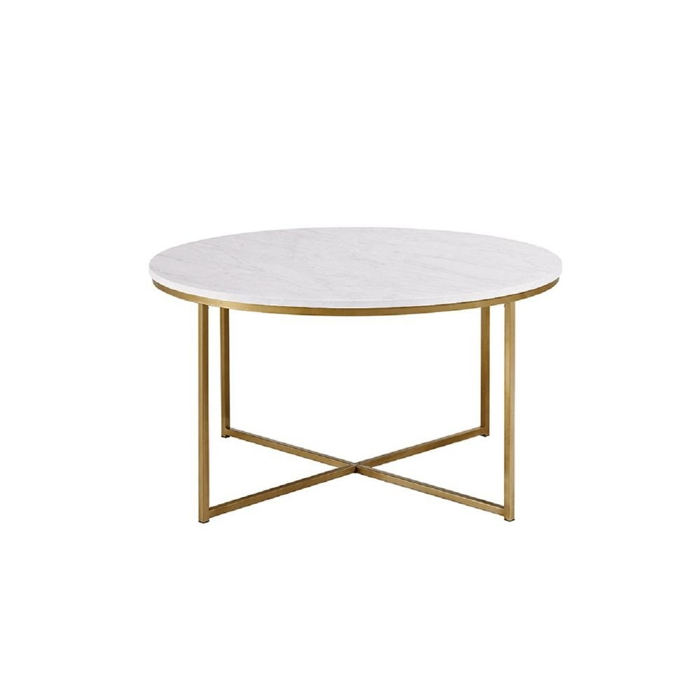 Walker Edison Furniture Company 36 In. Faux Marble/gold Coffee Table with regard to 2 Tone Grey and White Marble Coffee Tables (Image 29 of 30)