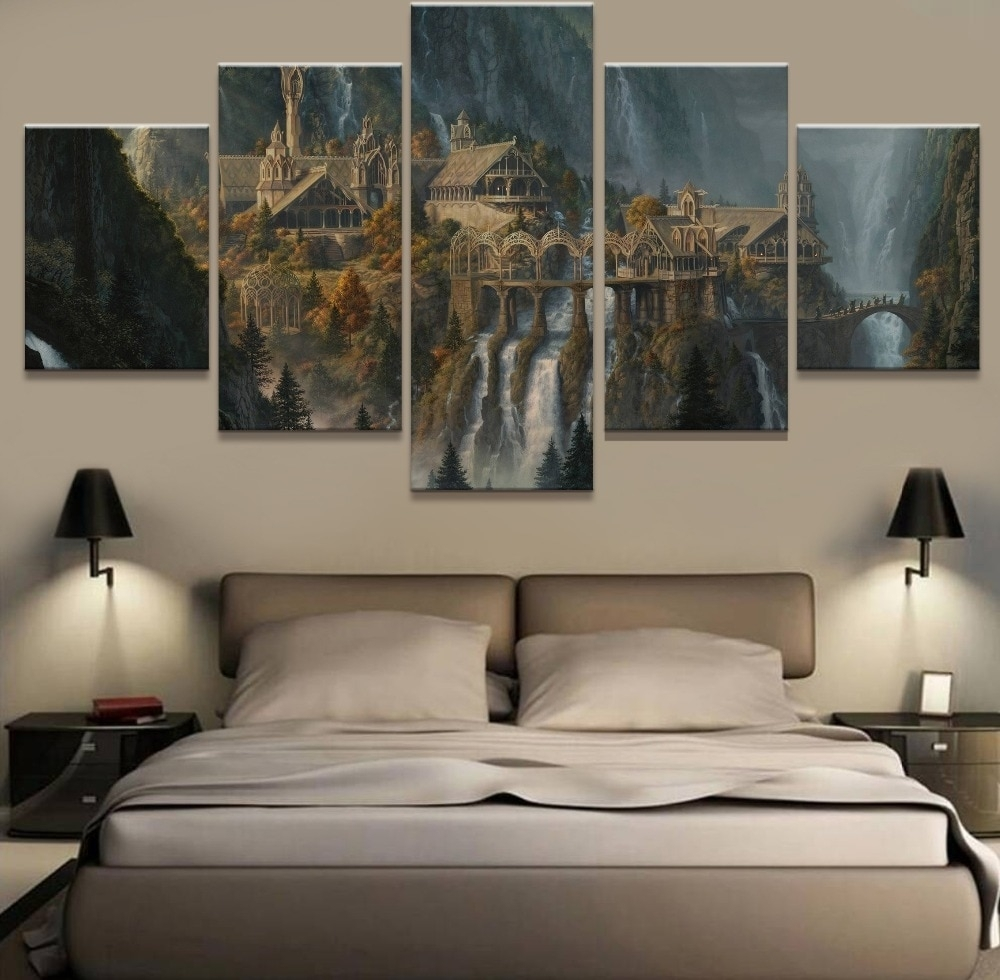 Wall Art 5 Panel Painting Lord Of The Rings Modern Home Decor Canvas within Lord of the Rings Wall Art (Image 19 of 20)