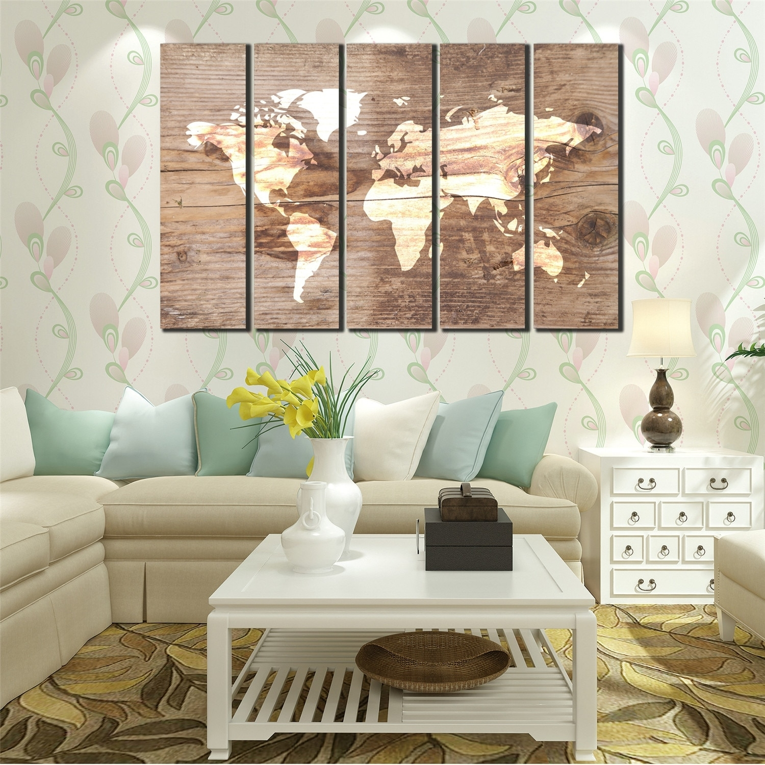 Wall Art Canvas Oil Painting Blue And White World Map Poster 5 with Vintage Map Wall Art (Image 14 of 20)