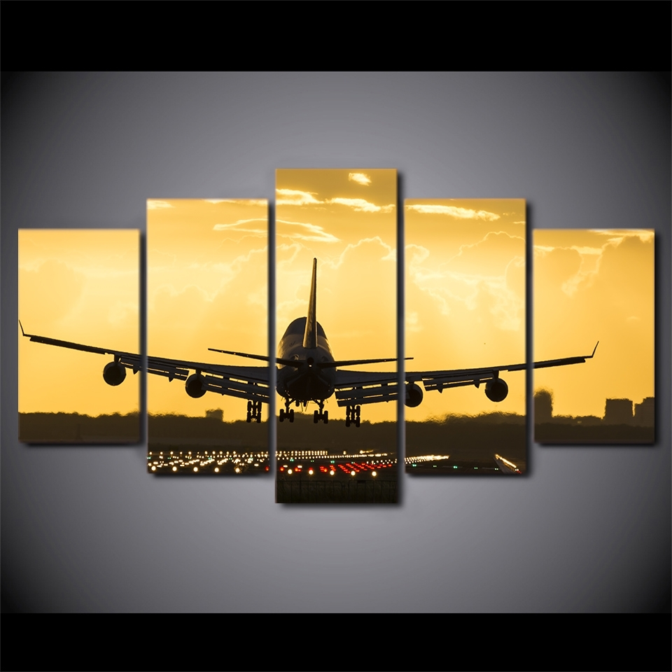 Wall Art Canvas Painting 5 Piece Golden Sunset Hd Print Wall Canvas With Aviation Wall Art (Photo 12 of 20)