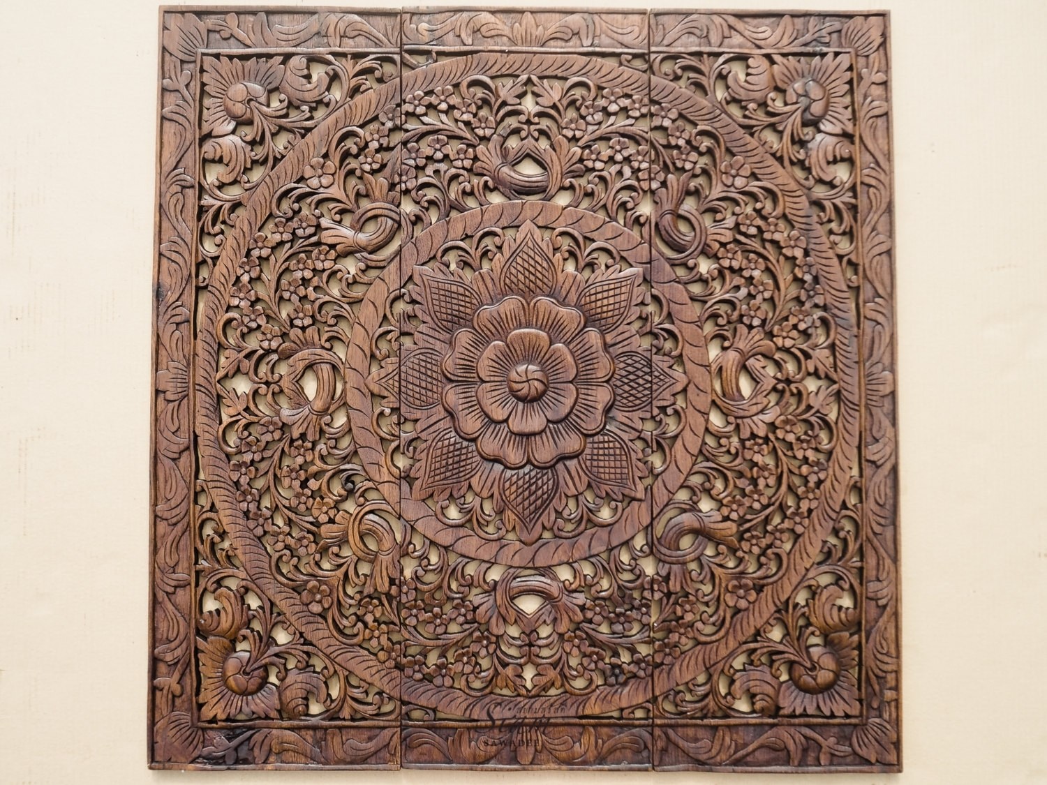 Wall Art Decor Carved Wood Panel Asian Homesiamsawadee In Wood Carved Wall Art (Photo 14 of 20)