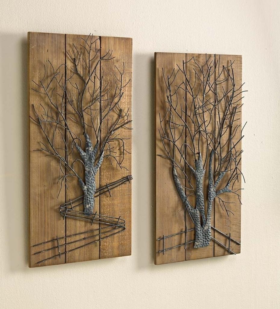 Wall Art Designs Wood And Metal Wall Art 2 Pieces Decorative Wood Within Wood And Metal Wall Art (Photo 12 of 20)