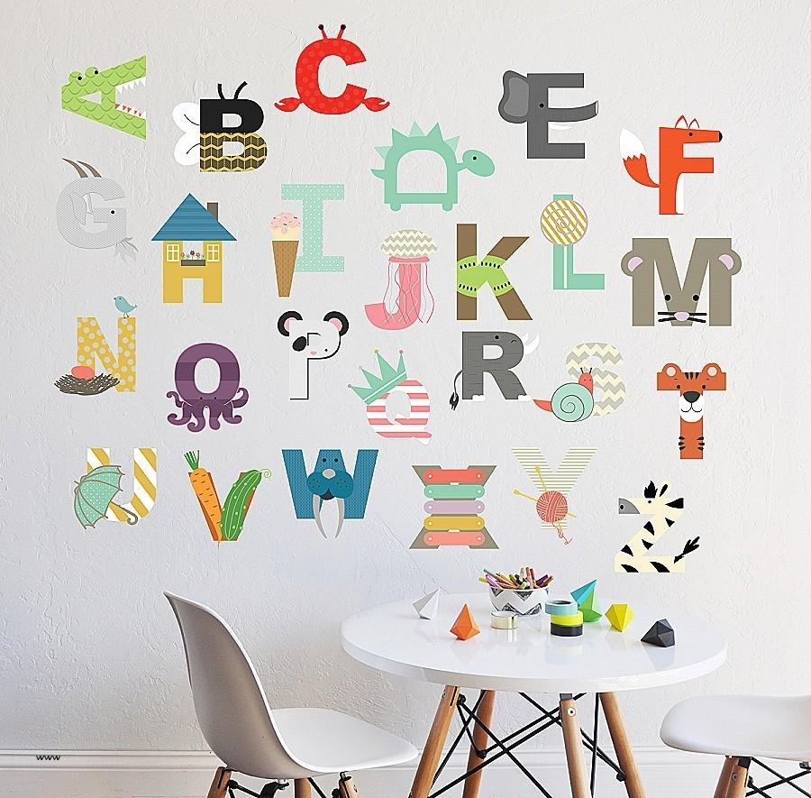 Wall Art. Elegant Alphabet Cards Wall Art: Alphabet Cards Wall Art with regard to Alphabet Wall Art (Image 17 of 20)