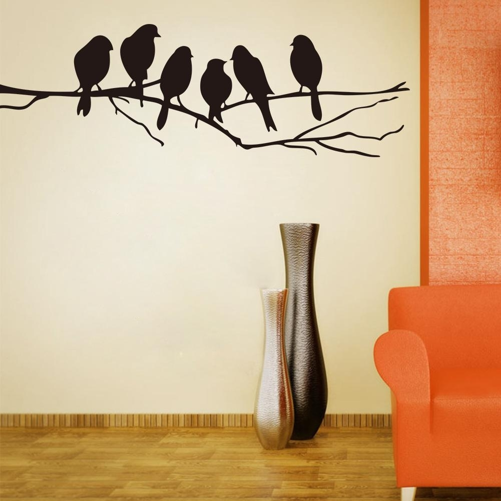 Wall Art Mural Decor Sticker Black Cute Birds On The Branch Wall Inside Stick On Wall Art (View 18 of 20)