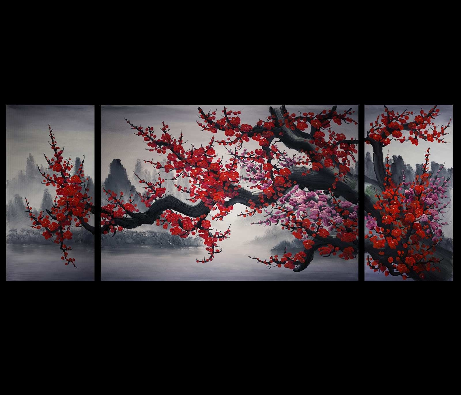 Wall Arts Painting Lovely Wall Art Design Ideas Mountain Red Colors inside Chinese Wall Art (Image 19 of 20)