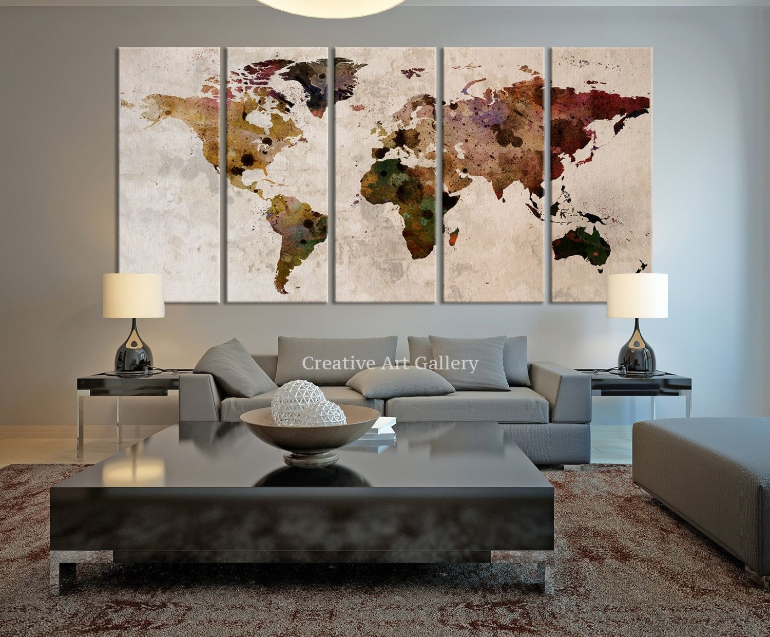 Wall Decor World Map Home Decorating Ideas Inspiration Of World Wall for Map Of The World Wall Art (Image 9 of 20)