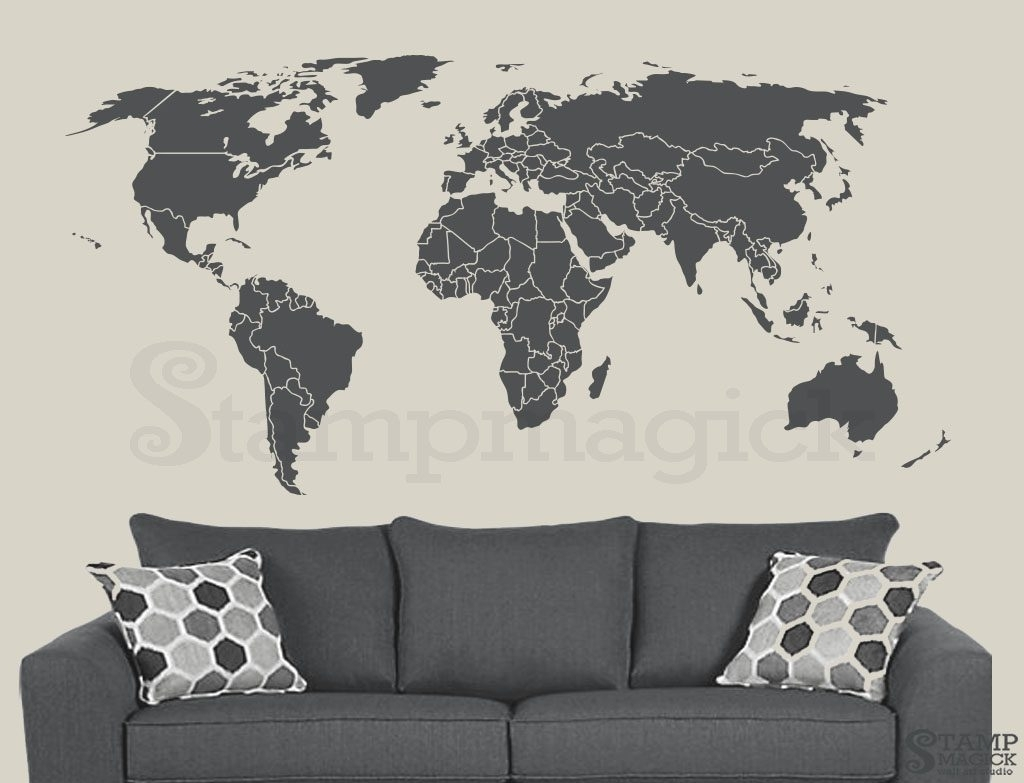 Wall Decoration. World Map Wall Decal   Wall Decoration And Wall Art In Wall Art Stickers World Map (Photo 4 of 20)