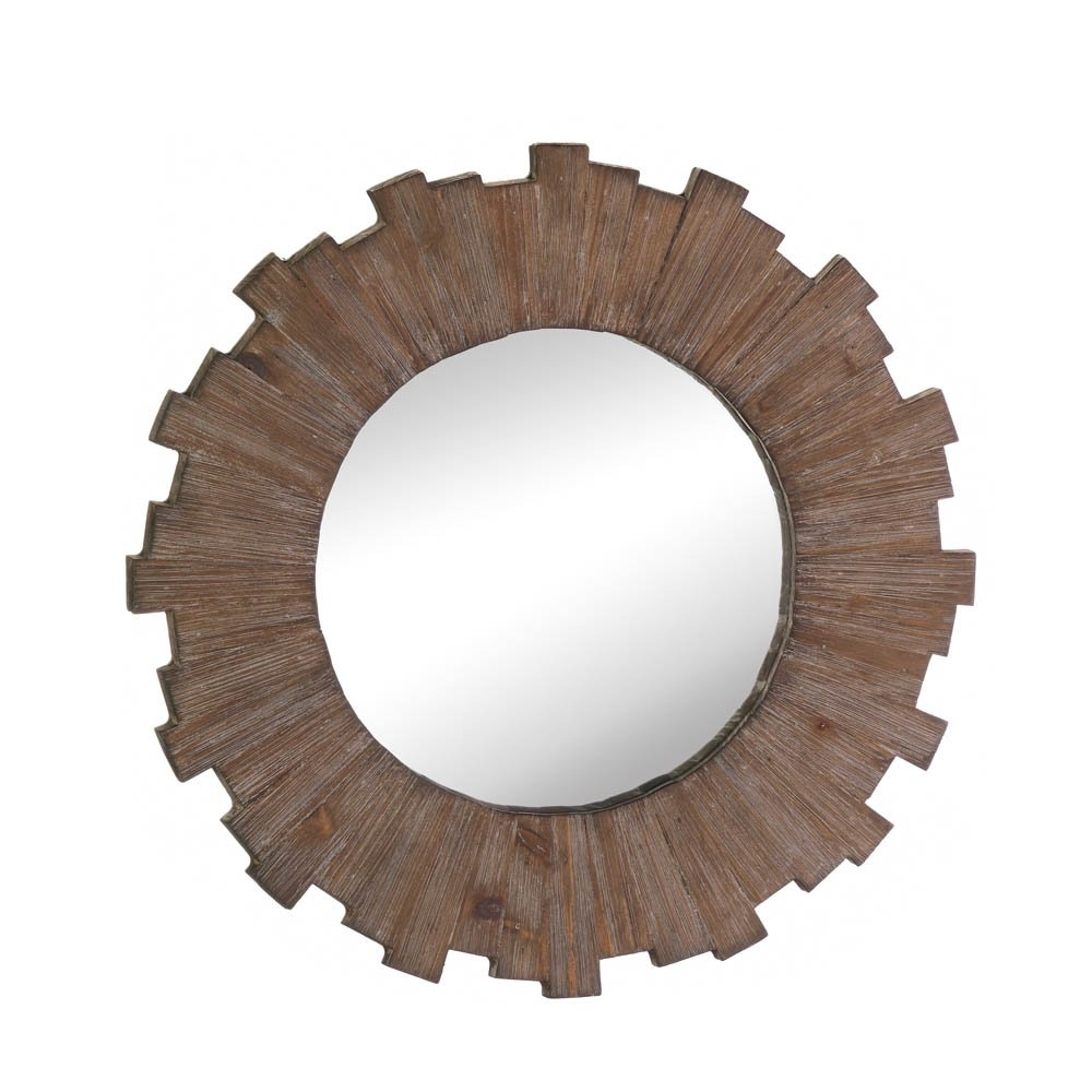 Wall Mirrors Decorative, Mdf Wood Framed Round Mirror Wall Art Decor With Regard To Round Wall Art (Photo 12 of 20)