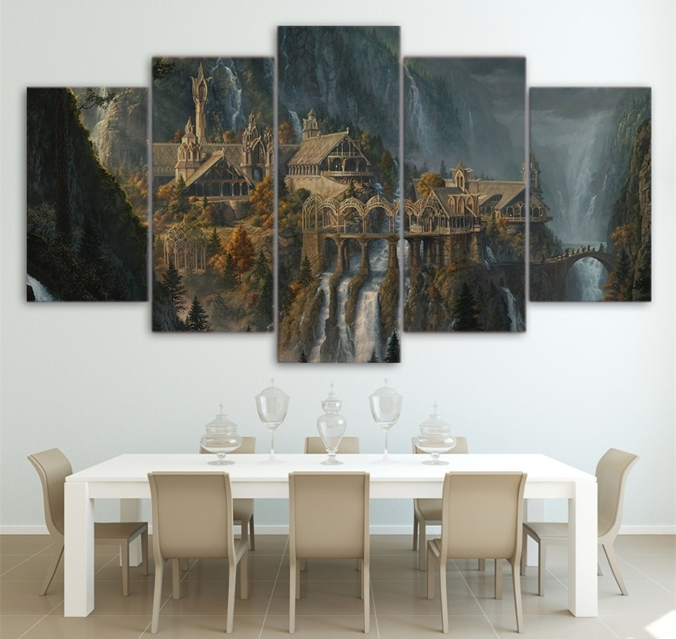 Wall Printed 5 Piece Wall Art Lord Of The Rings Canvas Post Prints with regard to Lord of the Rings Wall Art (Image 20 of 20)