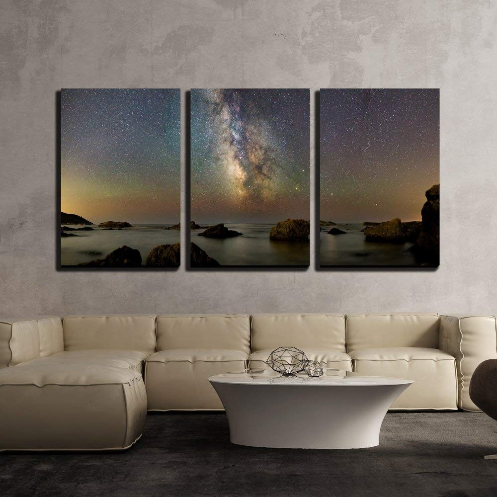 Wall26 – 3 Piece Canvas Wall Art – Milk Way Over Lake – Modern Home Throughout 3 Piece Canvas Wall Art (View 20 of 20)