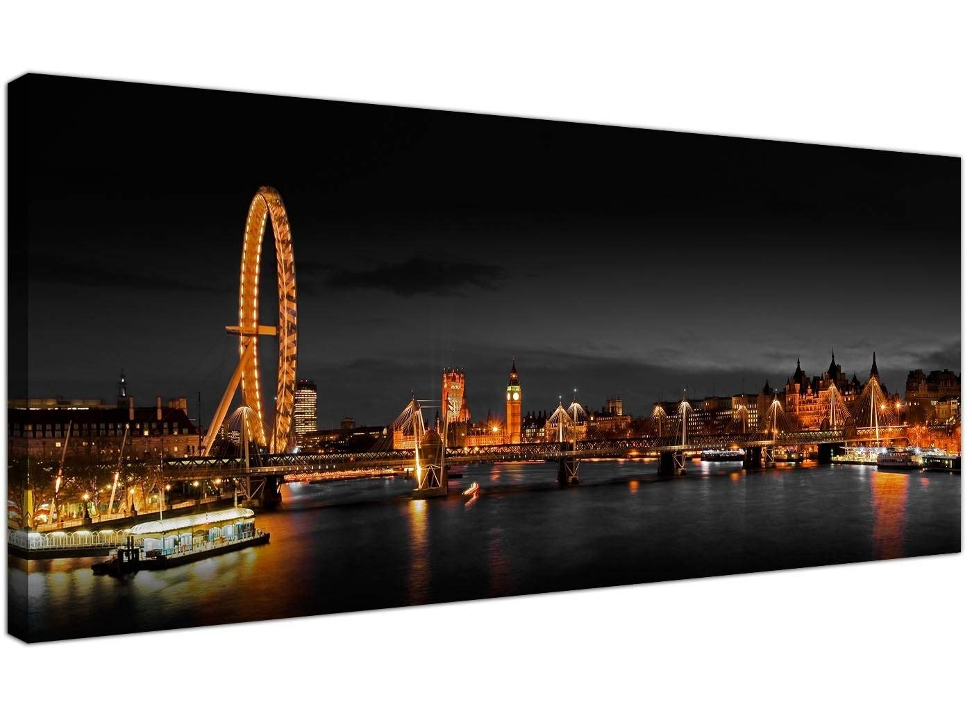Wallfillers Panoramic Canvas Art Of The London Eye At Night For Your Inside Panoramic Wall Art (View 2 of 20)