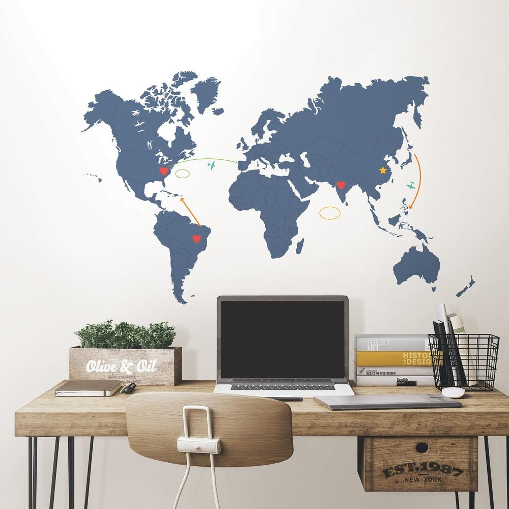 Wallpops 48 In. X 72 In. Blue Destination World Map Wall Art Kit with World Map For Wall Art (Image 9 of 20)