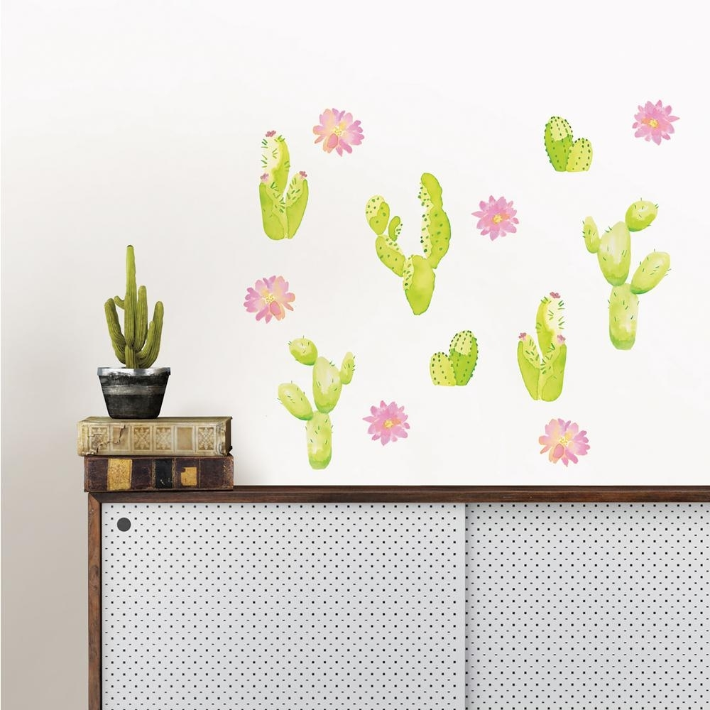 Wallpops Pink Sedona Cacti Wall Art Kit-Dwpk2465 - The Home Depot for Cactus Wall Art (Image 18 of 20)