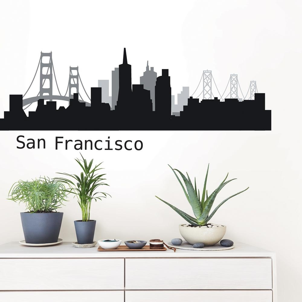 Wallpops San Francisco Black Cityscape Wall Art Kit-Dwpk2570 - The regarding San Francisco Wall Art (Image 19 of 20)