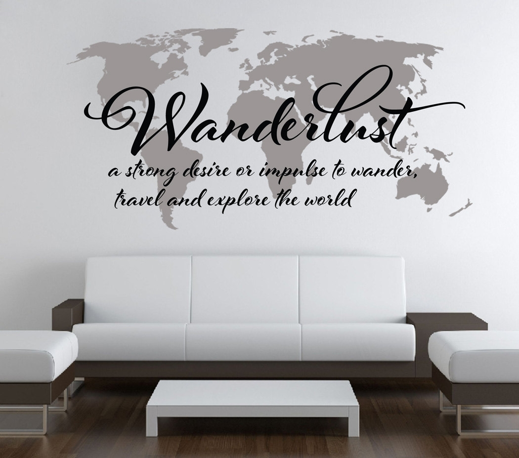 Wanderlust Travel Quote World Map Wall Art Decal · Moonwallstickers Pertaining To Wall Art Stickers World Map (Photo 18 of 20)