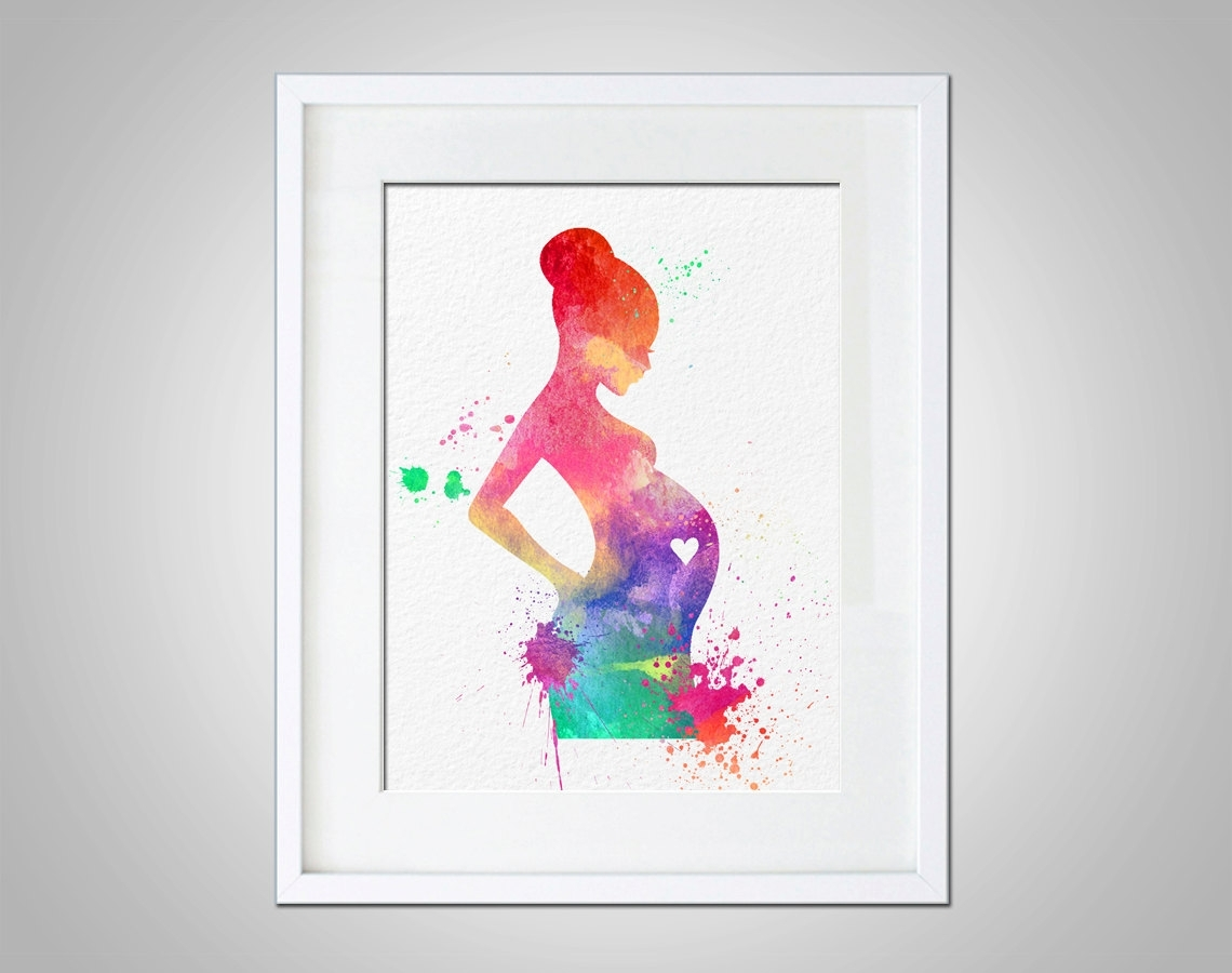 Watercolor Art Expectant Mother Baby Shower Gift Modern 8x10 Wall Pertaining To Wall Art Prints (View 19 of 20)