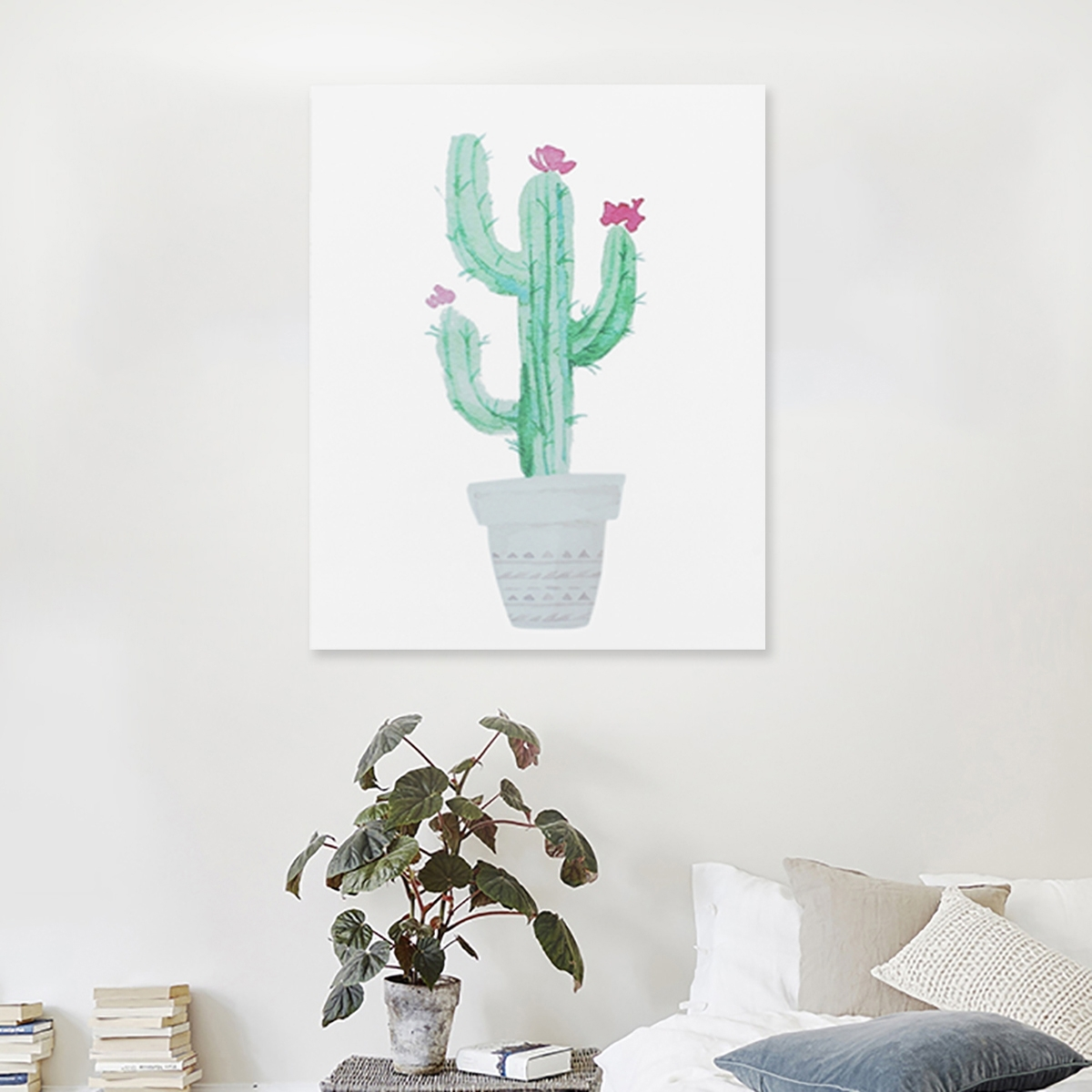 Watercolor Canvas Cactus Painting Print Picture Modern Home Wall Art Intended For Home Wall Art (Photo 17 of 20)