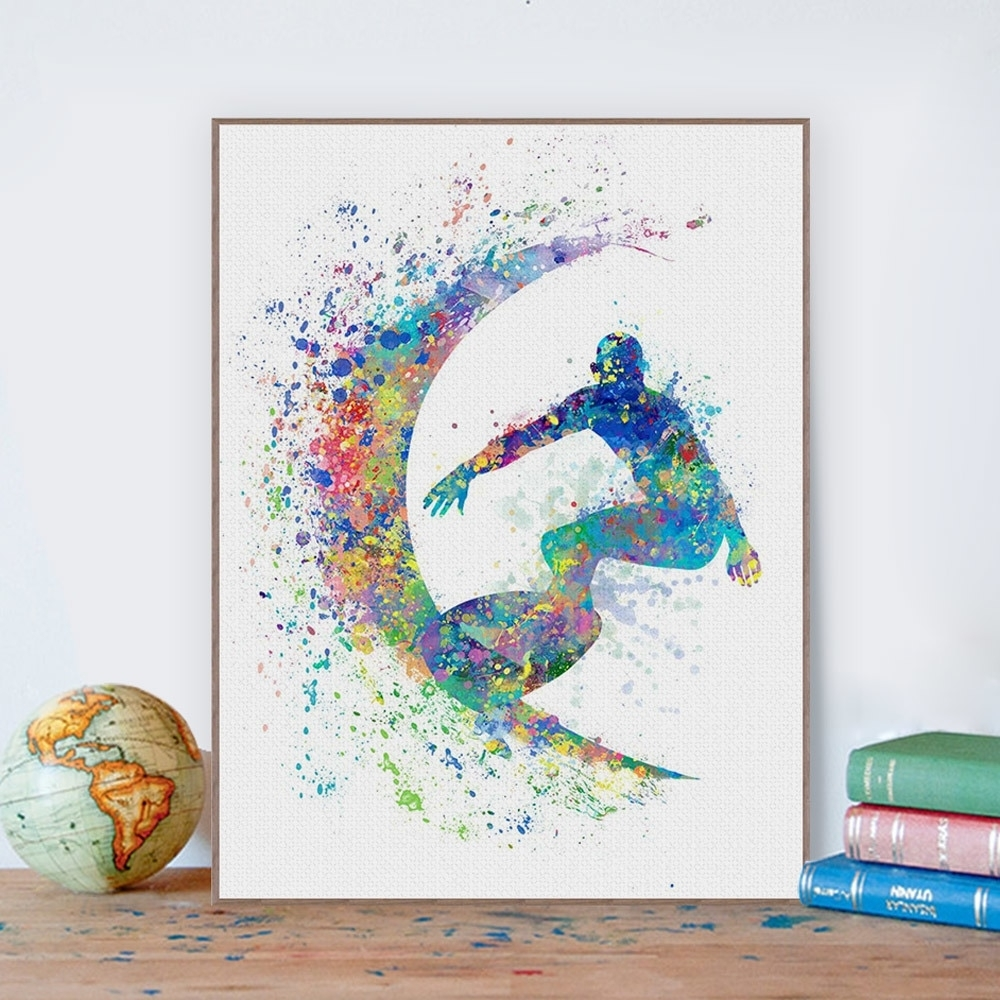 Watercolor Surfing Beach Sports Wall Art Pictures For Living Room With Sports Wall Art (View 20 of 20)