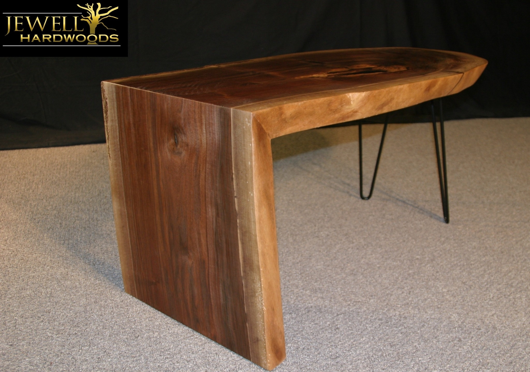 Waterfall Coffee Table With Metal Hairpins Jewell Hardwoods Logo1 Throughout Waterfall Coffee Tables (Photo 9 of 30)
