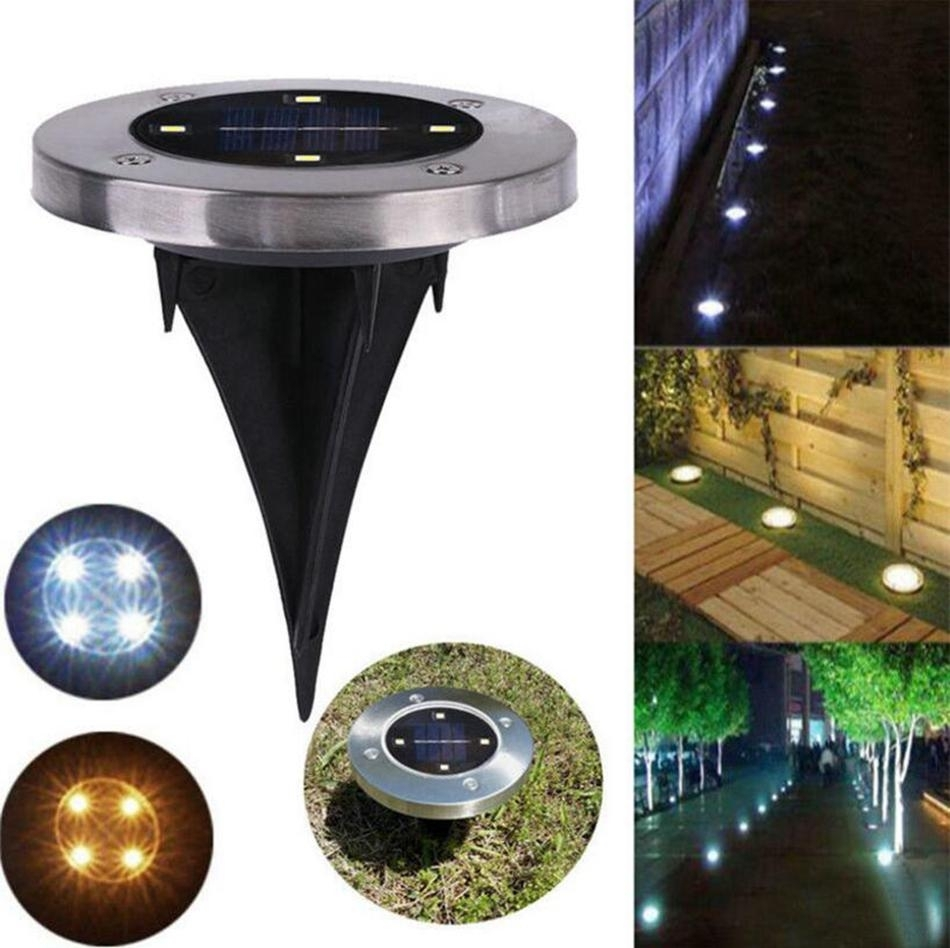 Waterproof Solar Powered 4Led Disk Lights Buried Light Outdoor Under For Outdoor Ground Lanterns (Photo 8 of 20)