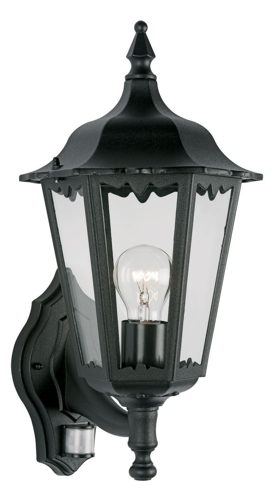 Waterville Black 60W Mains Powered External Pir Lantern | House pertaining to Outdoor Mains Lanterns (Image 20 of 20)