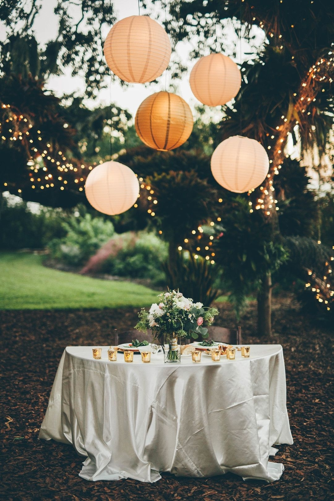 Wedding Reception Lighting Design, Paper Lantern Globes, Trees for Outdoor Paper Lanterns (Image 20 of 20)