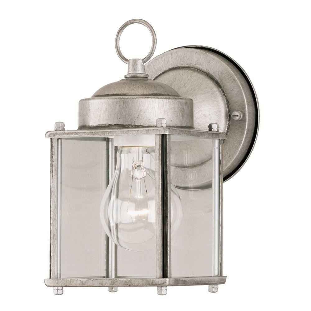 Westinghouse 1 Light Antique Silver Steel Exterior Wall Lantern With Pertaining To Silver Outdoor Lanterns (View 13 of 20)
