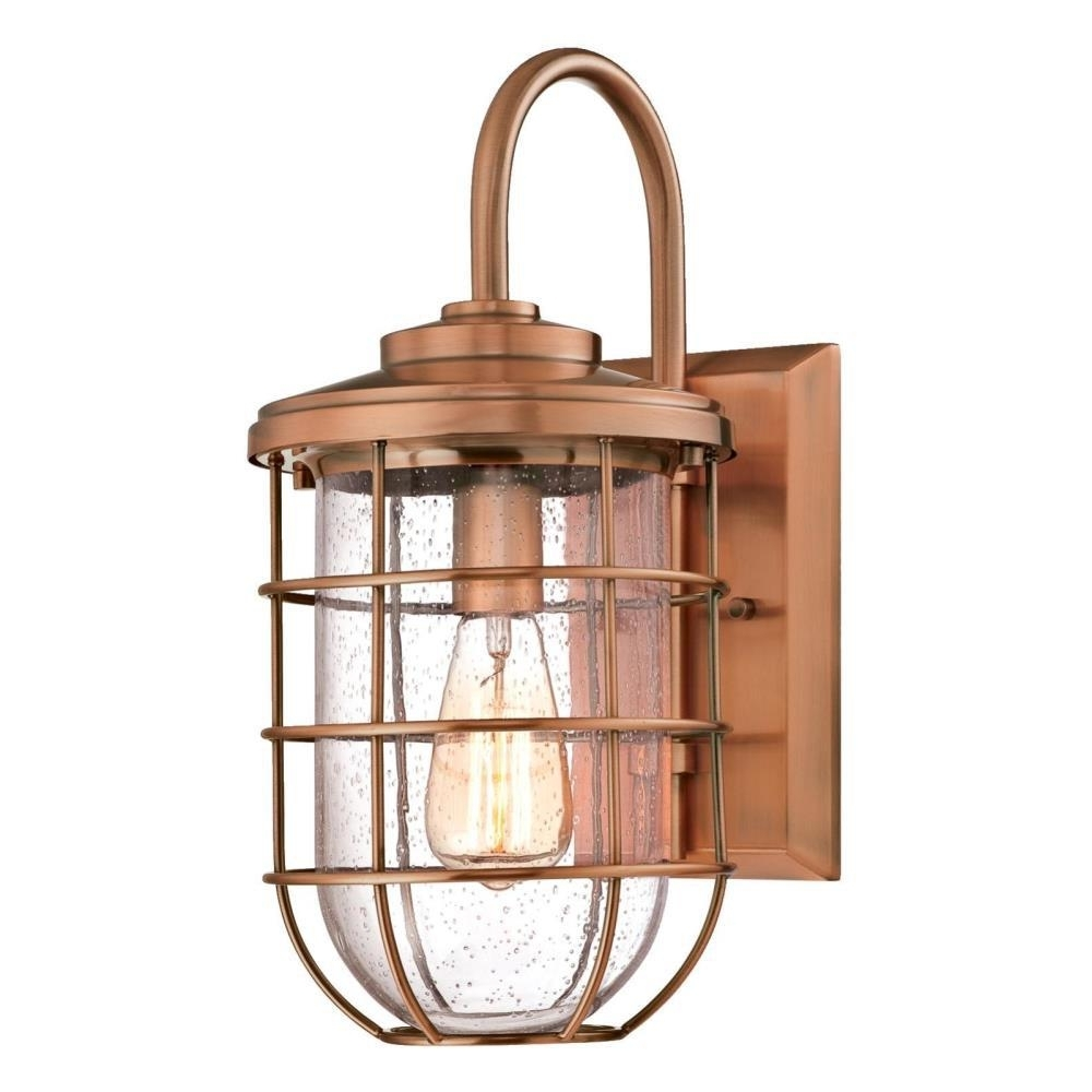 Westinghouse Ferry 1-Light Washed Copper Outdoor Wall Mount Lantern inside Copper Outdoor Lanterns (Image 20 of 20)