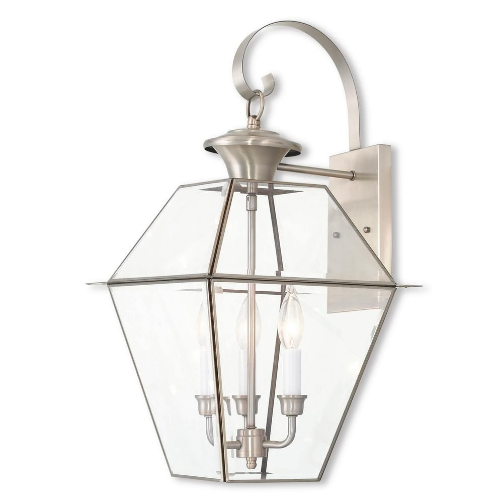 Westover 3 Light Brushed Nickel Outdoor Wall Mount Lantern In Nickel Outdoor Lanterns (Photo 20 of 20)