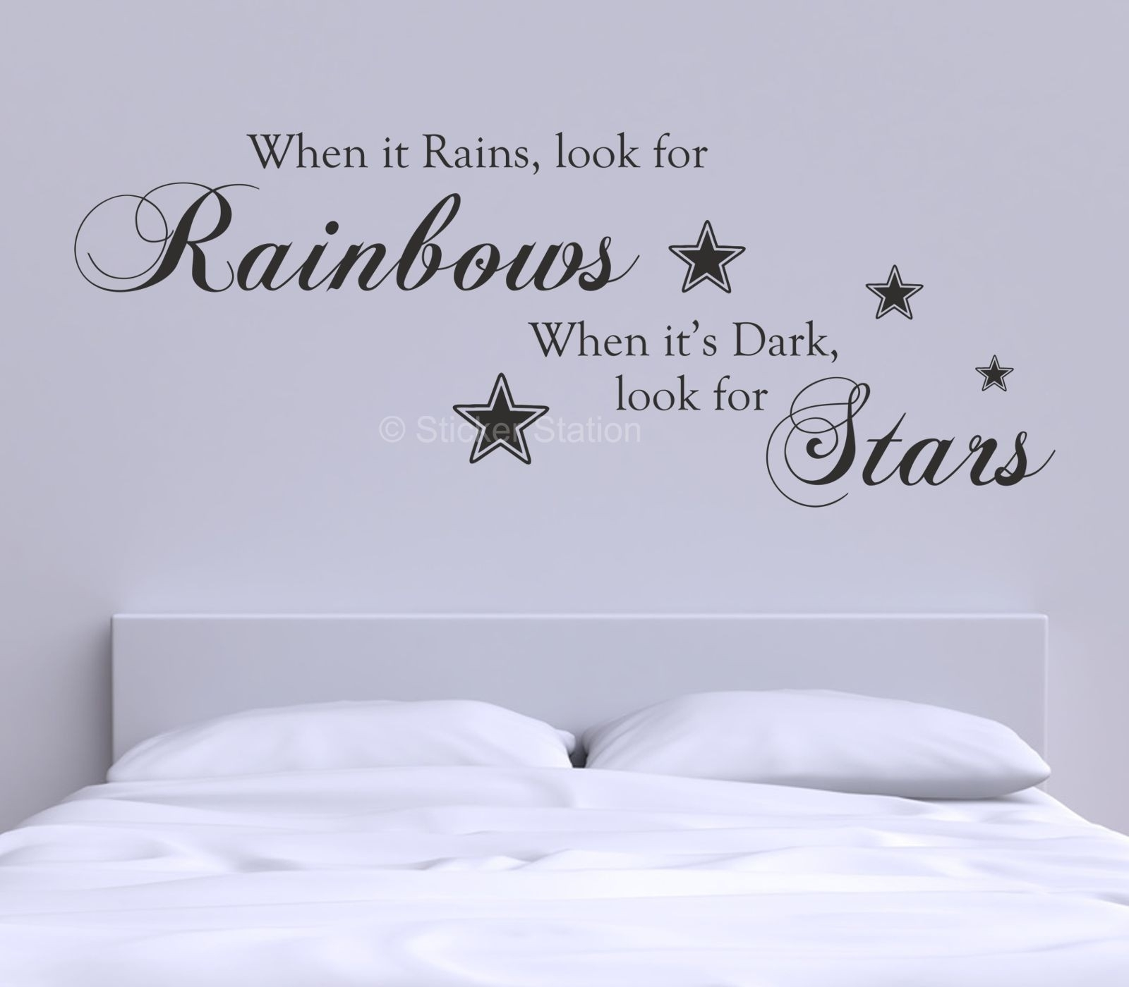 When It Rains Look For Rainbows Quote Wall Art Sticker Luxury Wall with regard to Wall Art Quotes (Image 20 of 20)