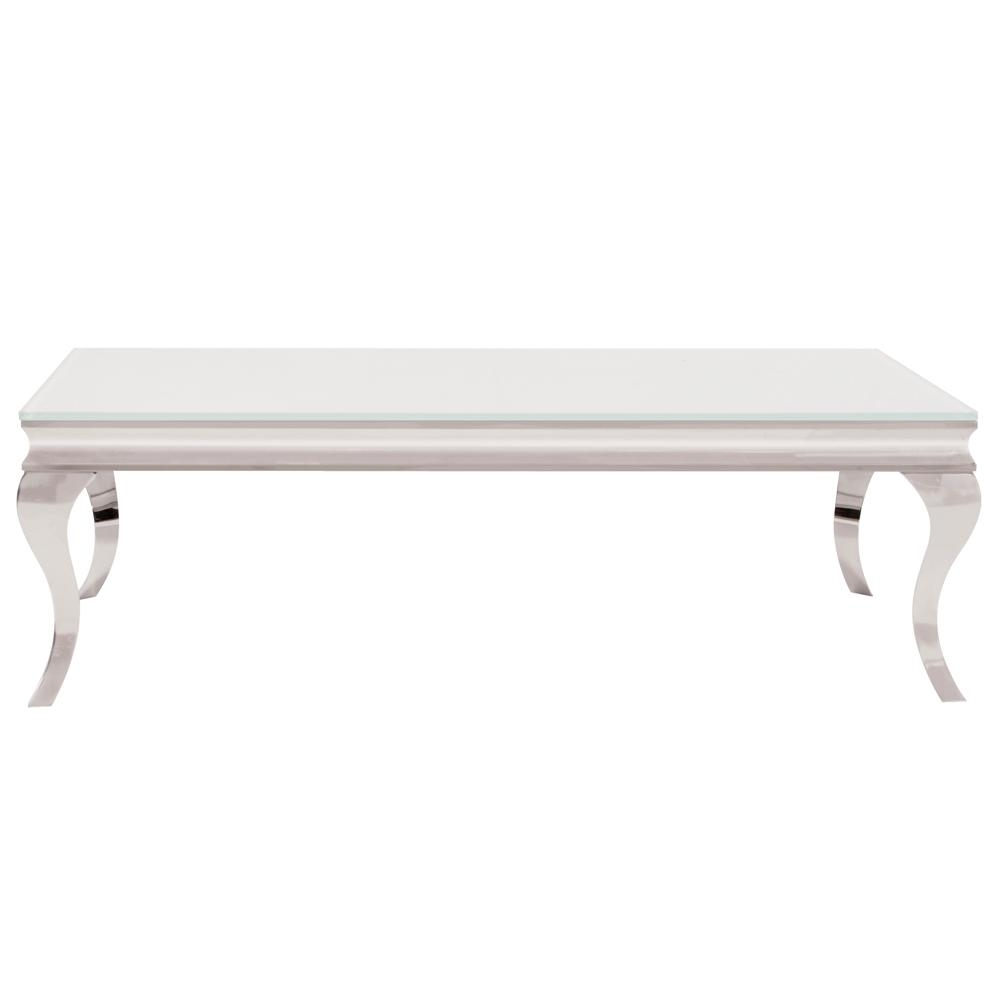 White And Stainless Coffee Table 38006 – The Home Depot Within Element Ivory Rectangular Coffee Tables (View 10 of 30)