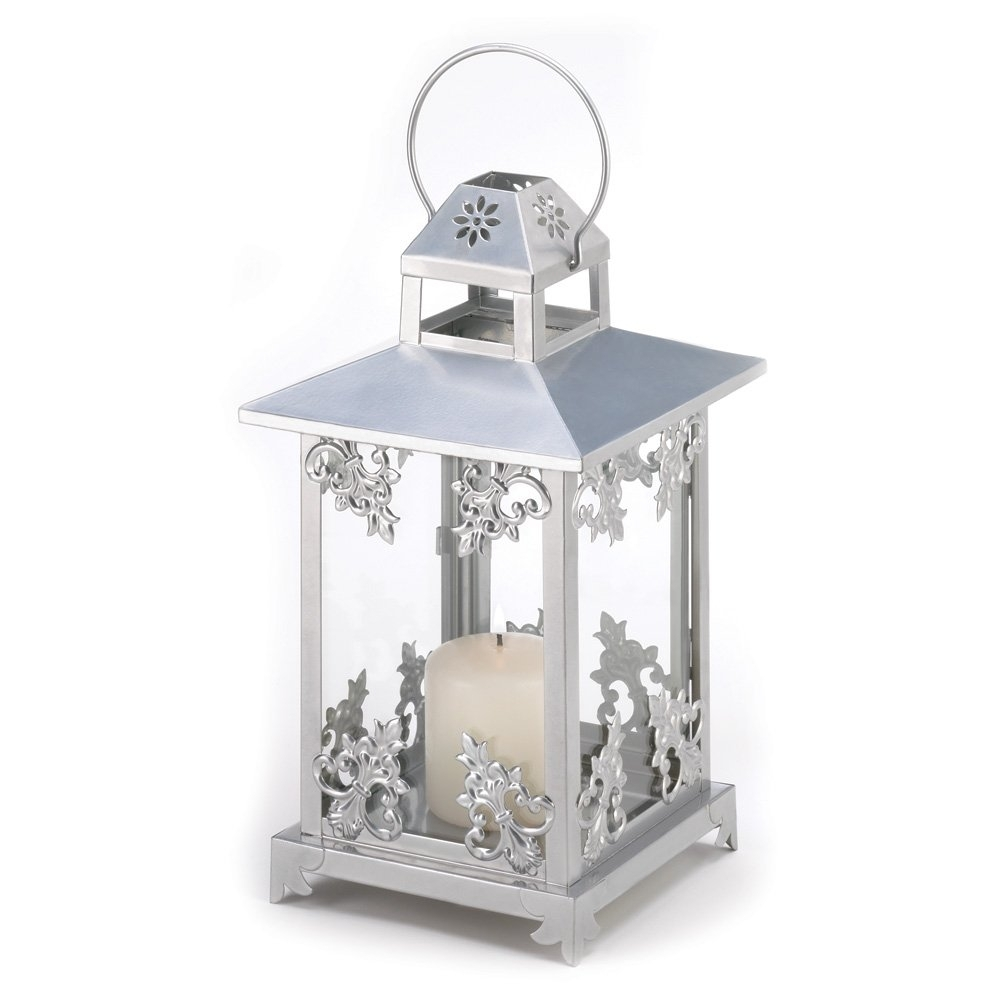 White Candle Lantern, Antique Iron Decorative Scrollwork Candle Intended For Outdoor Cast Iron Lanterns (Photo 9 of 20)