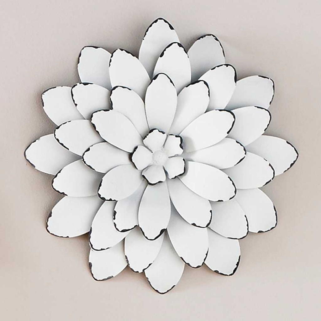 White Color Metal Flowers Wall Art Good Looking Wonderful Image with Metal Flowers Wall Art (Image 19 of 20)