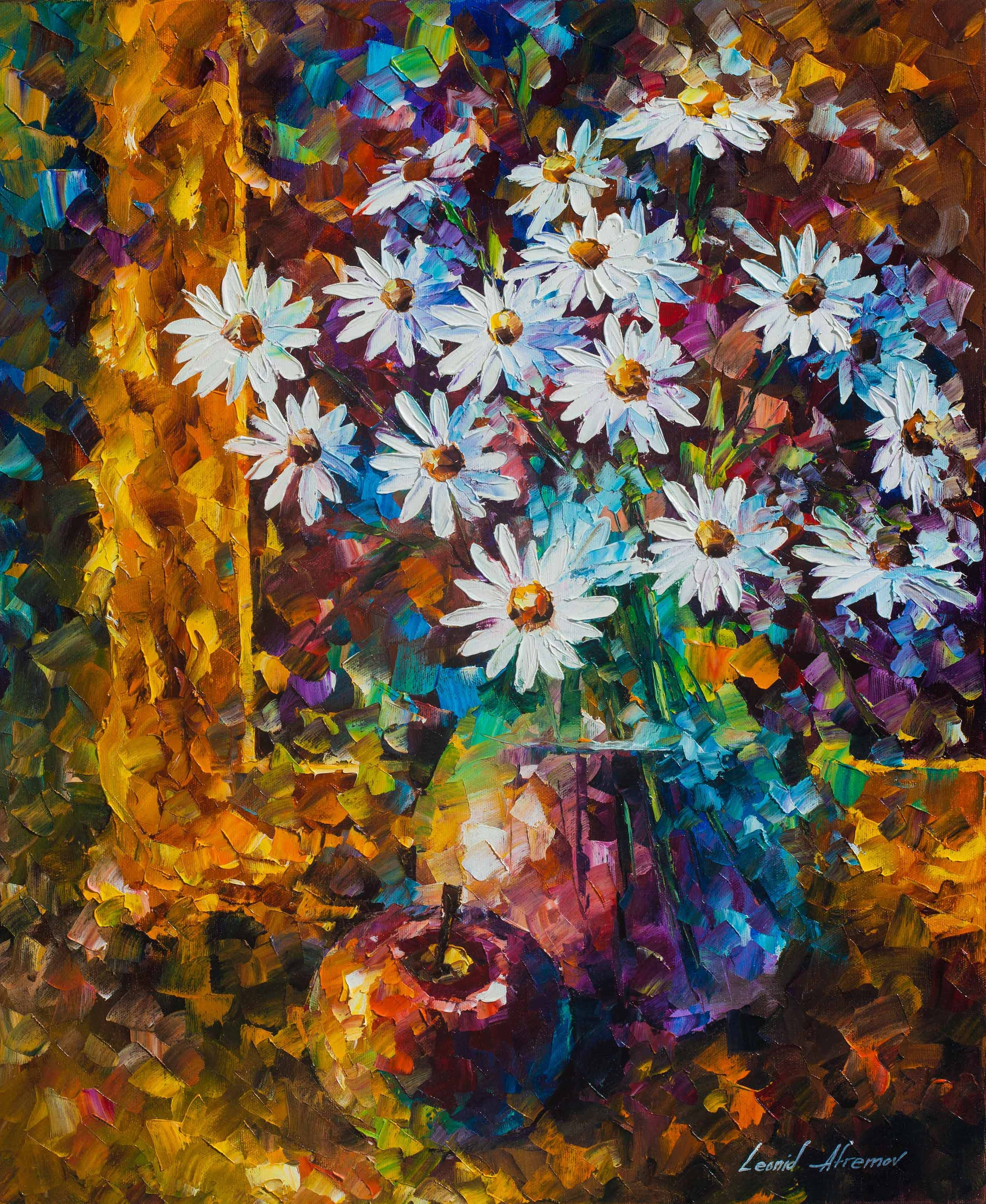 White Flowers - Palette Knife Oil Painting - Wall Art Canvas within Wall Art Paintings (Image 18 of 20)