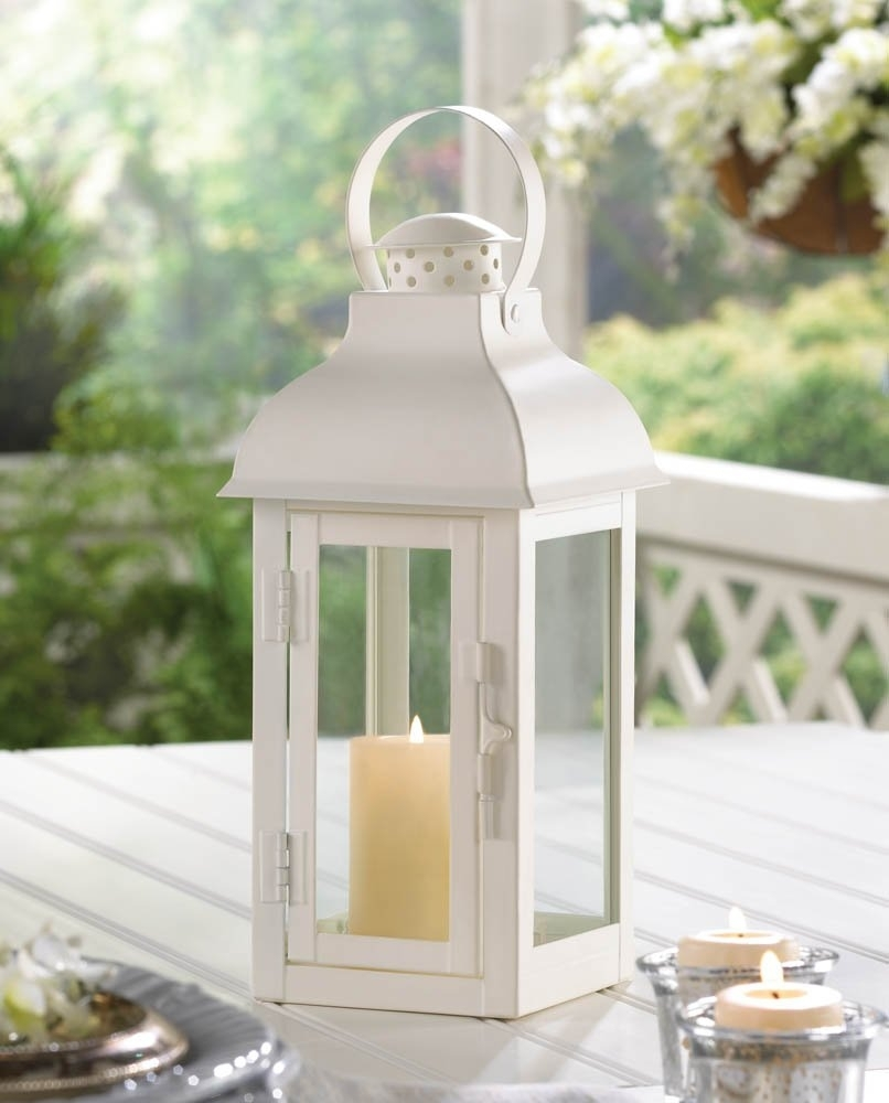 White Lantern Candle, Antique Wrought Outdoor Metal Candle Lantern Inside White Outdoor Lanterns (View 11 of 20)